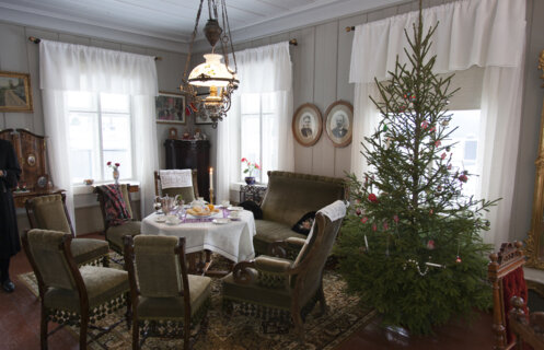 Christmas decorated living room like in the 1920s at Maihaugen in Lillehammer.