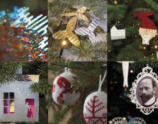 Fotocollage av ulik juletrepynt som har vært på Maihaugens juletre.