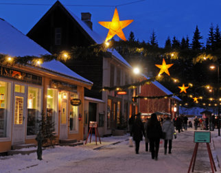 The old mainstreet at Maihaugen in Lillehammer at Christmas.
