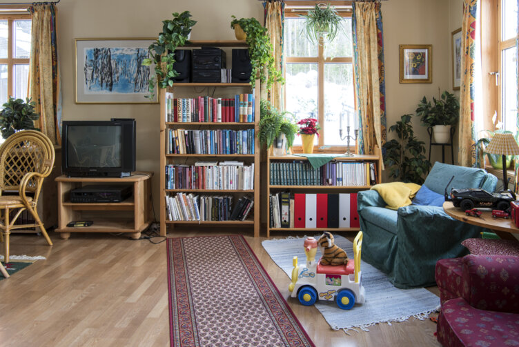 The living room in the 1990s house at Maihaugen open air-museum in Lillehammer.