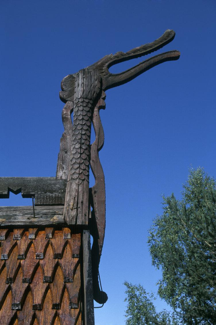 Dragehode på Garmokirka, Maihaugen.
