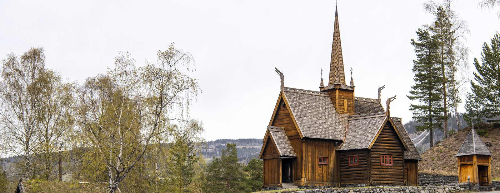 Garmo stave church in the spring.