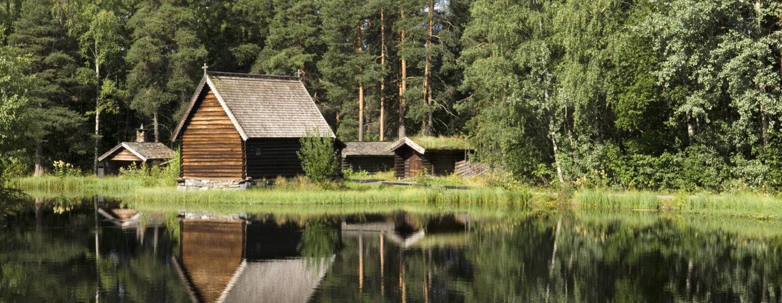 The Fishermen's Chapel at the lake Breisjøen in the open air-museum Maihaugen in Lillehammer.