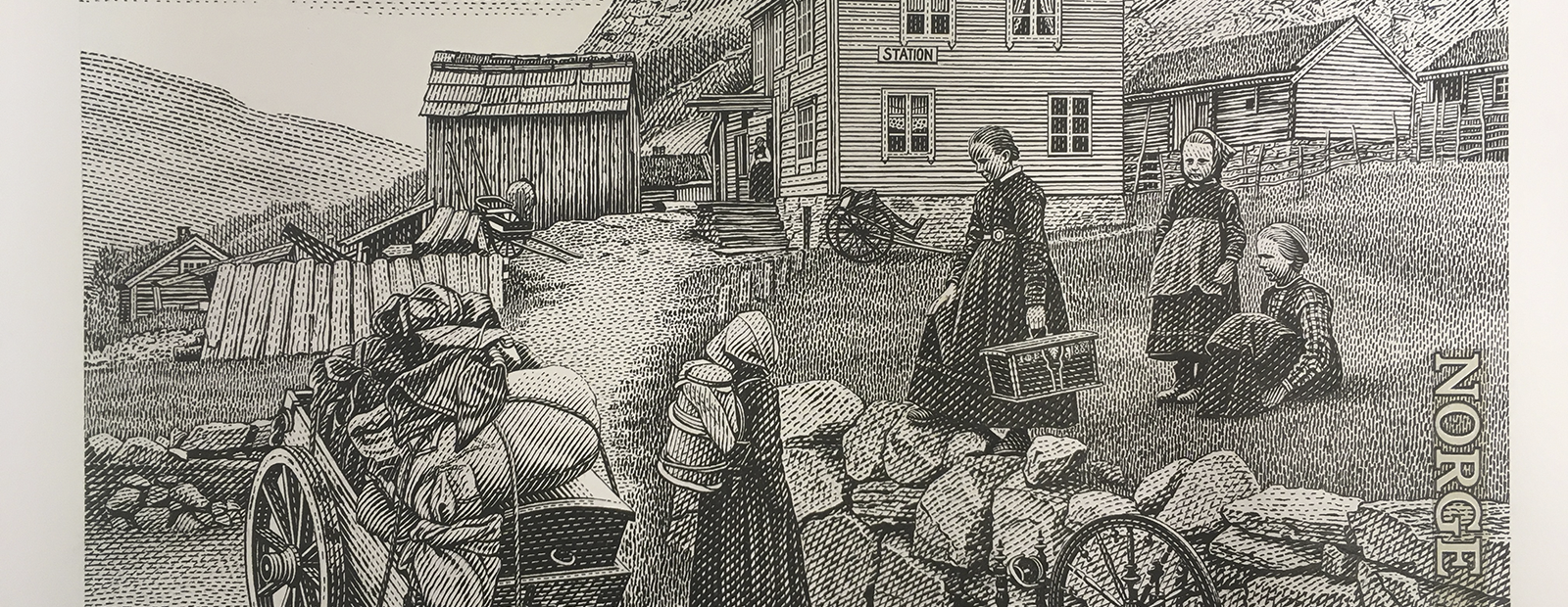 Detail of an engraved stamp showing travellers from a farm in the older days.